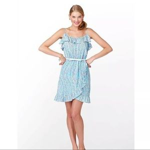 Lilly Pulitzer Clam Jam Blue/Pink Ruffle Dress